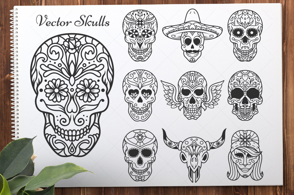 50 Vector Sugar Skulls example image 2
