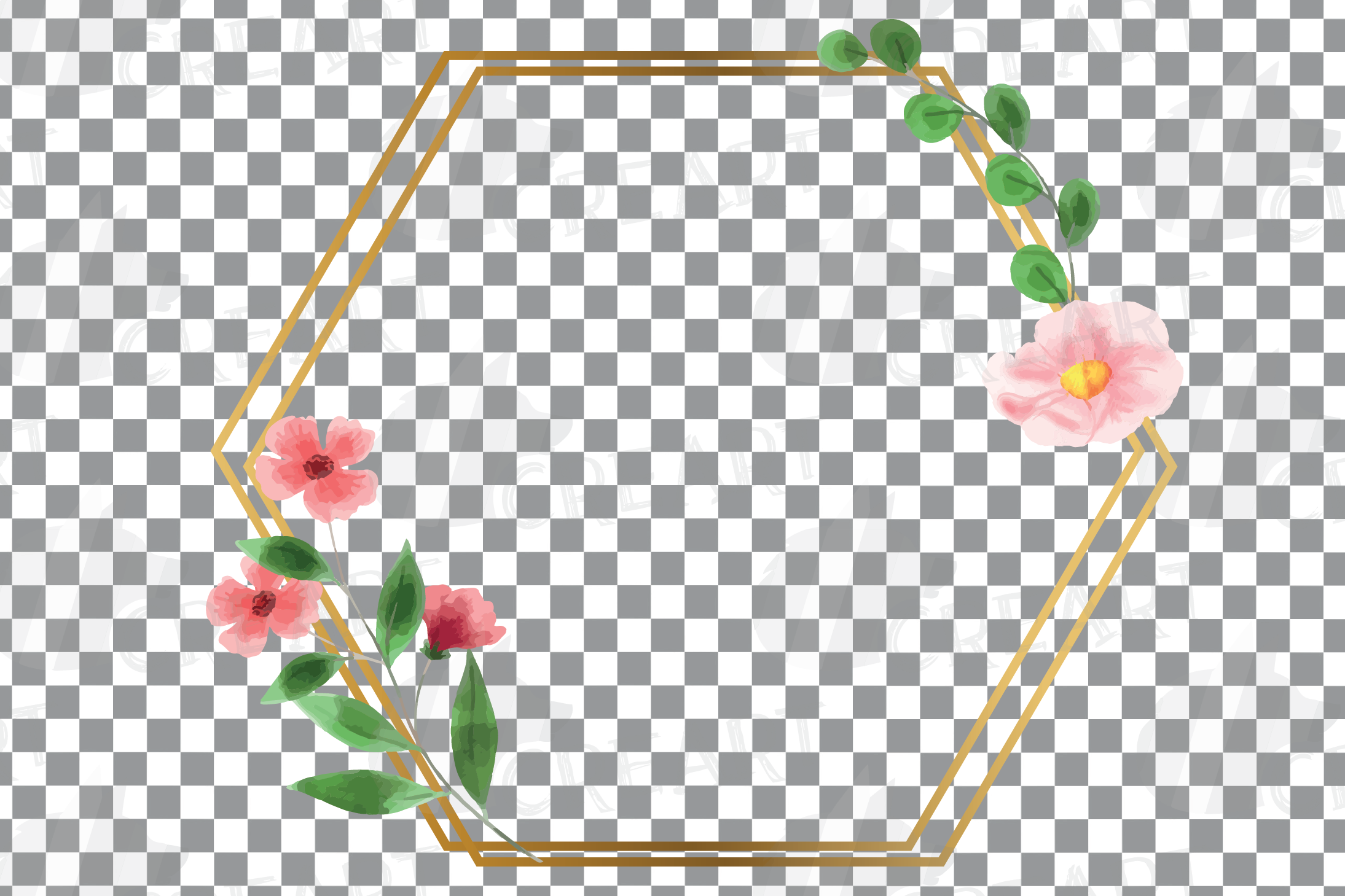 Golden Floral Frames Clip Art. Wedding geometric borders png example image 11