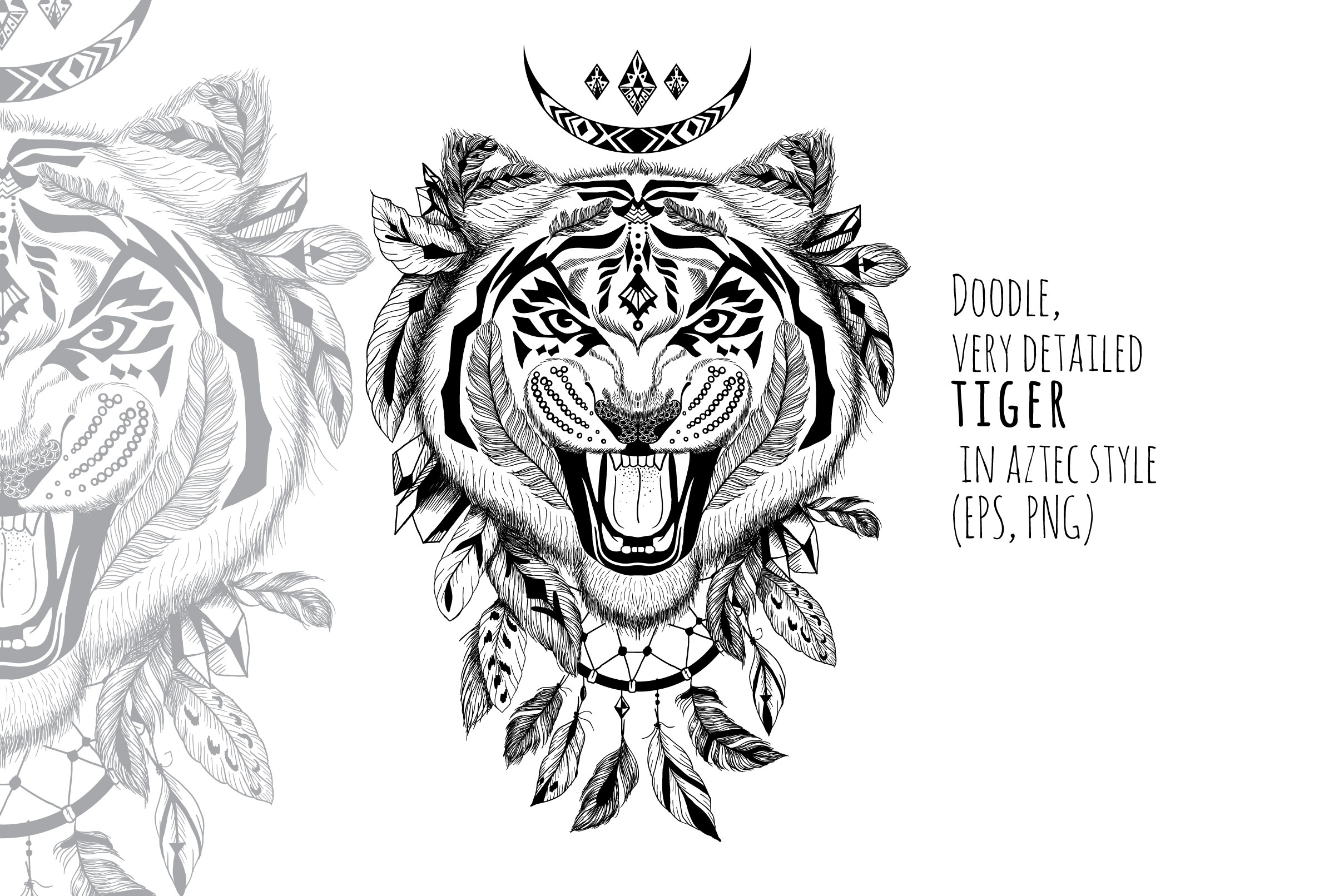 Textured tiger in aztec style example image 1