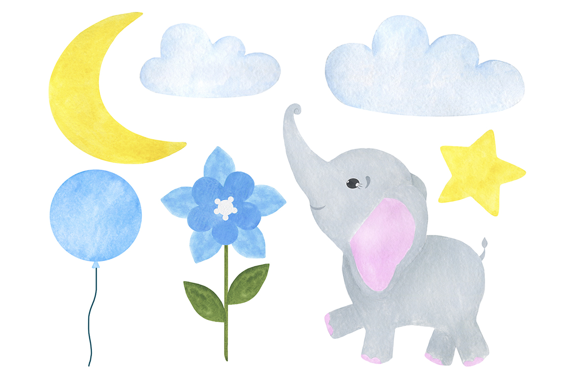 Set of illustrations of a cute little watercolor elephant example image 3