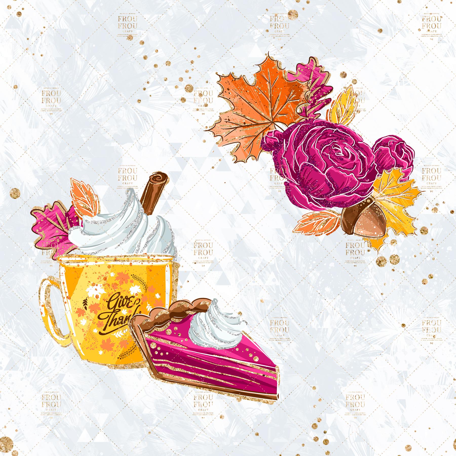 Sweets Cake Pumpkin Pie Fall Autumn Clip Art example image 4