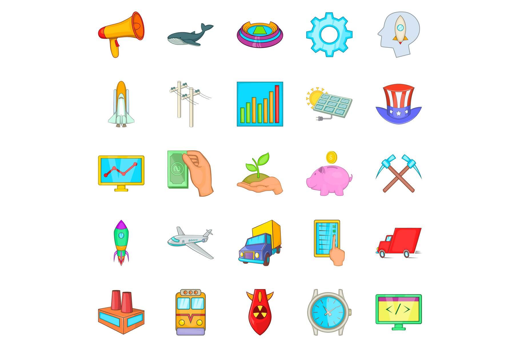 Fee icons set, cartoon style example image 1
