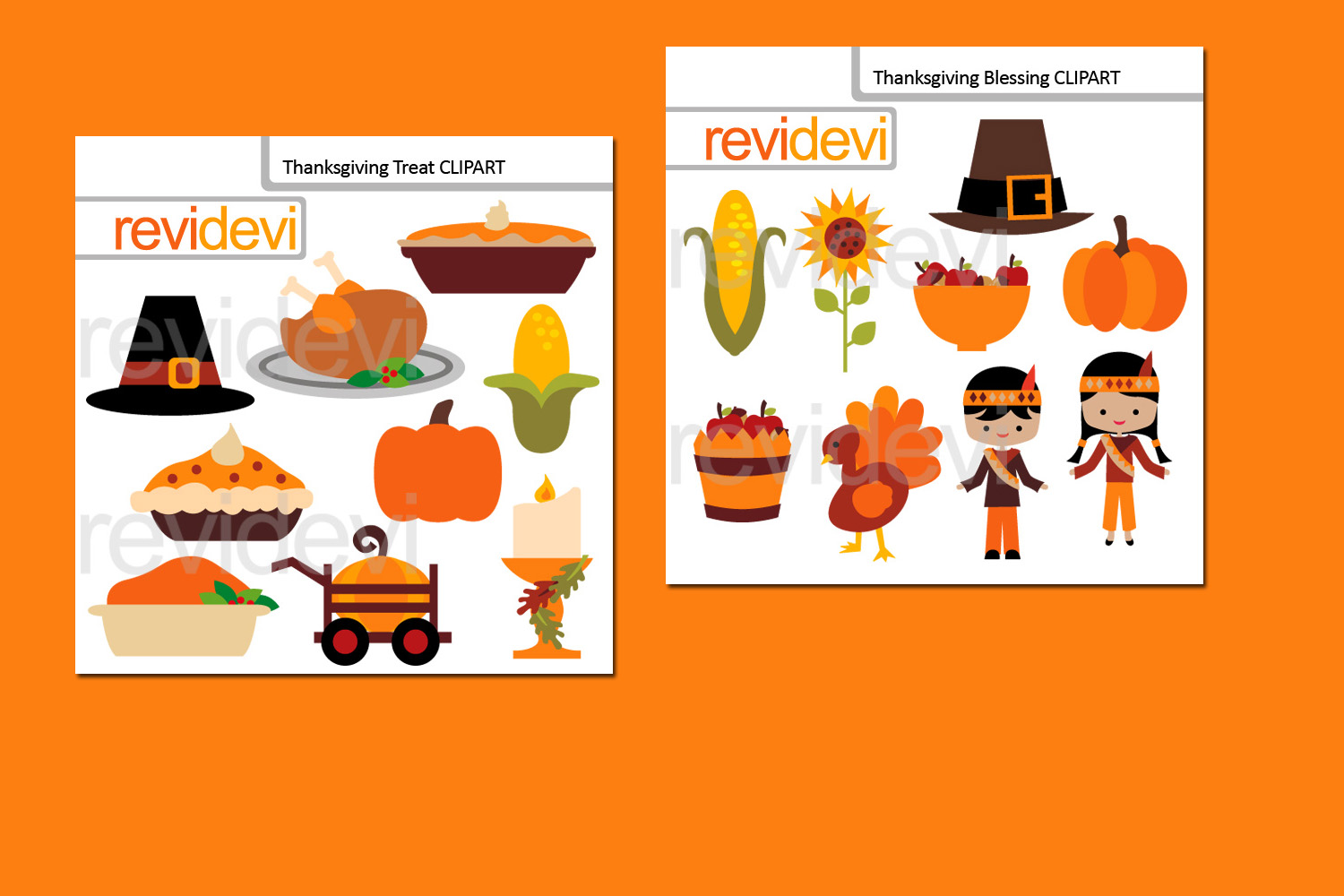 Happy Thanksgiving Bundle Graphics Clipart example image 2