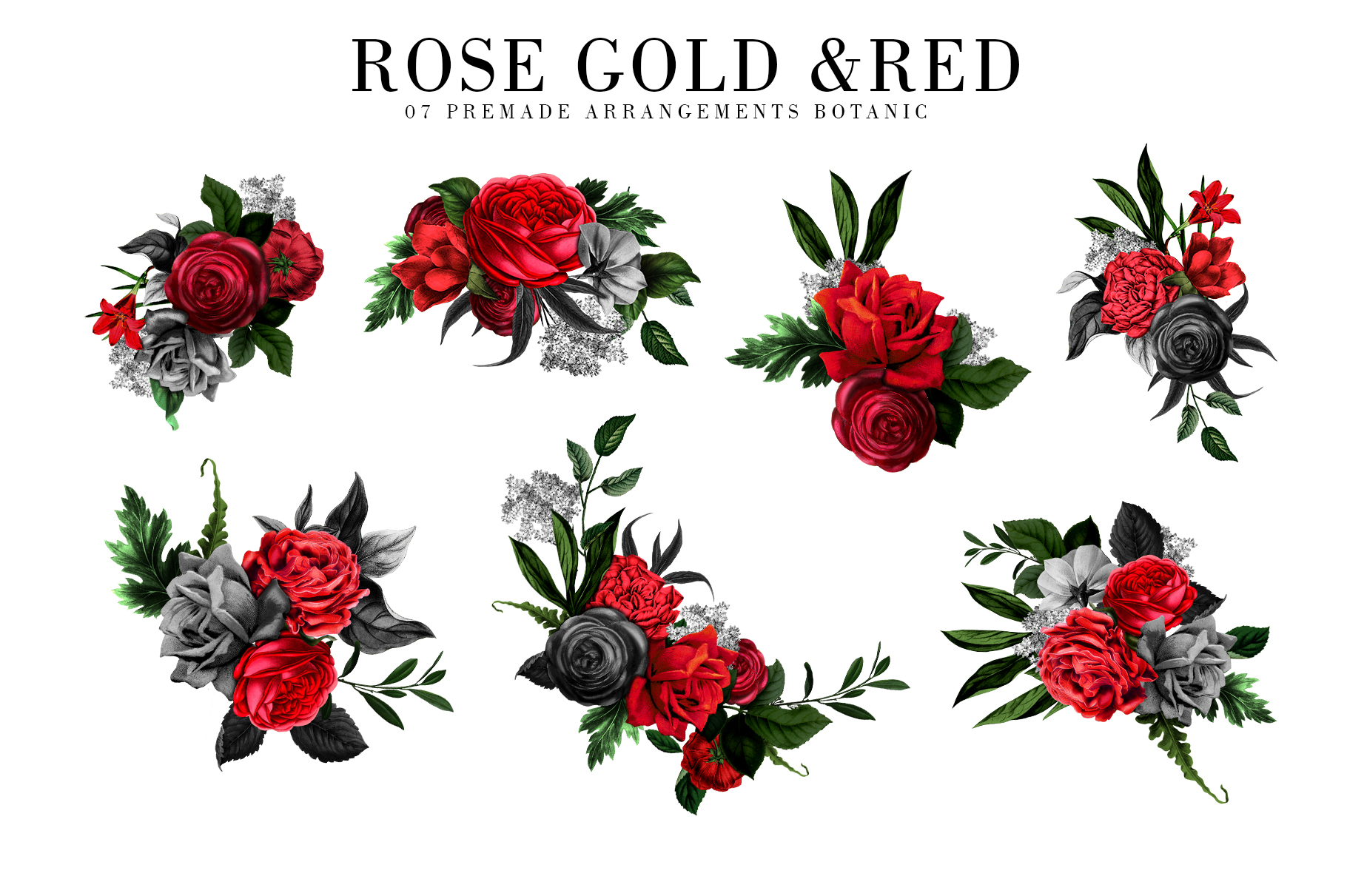 Red Flowers and Gold| Roses vintage and gold example image 4
