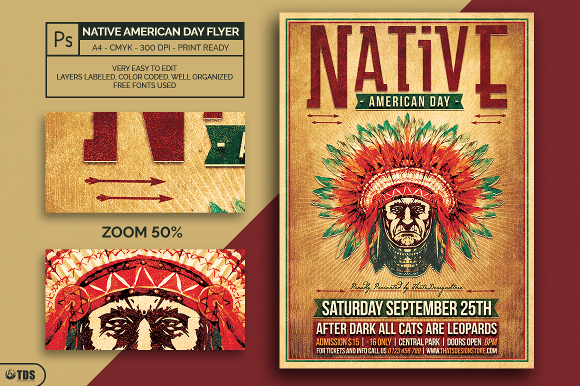 Native American Day Flyer Template example image 2