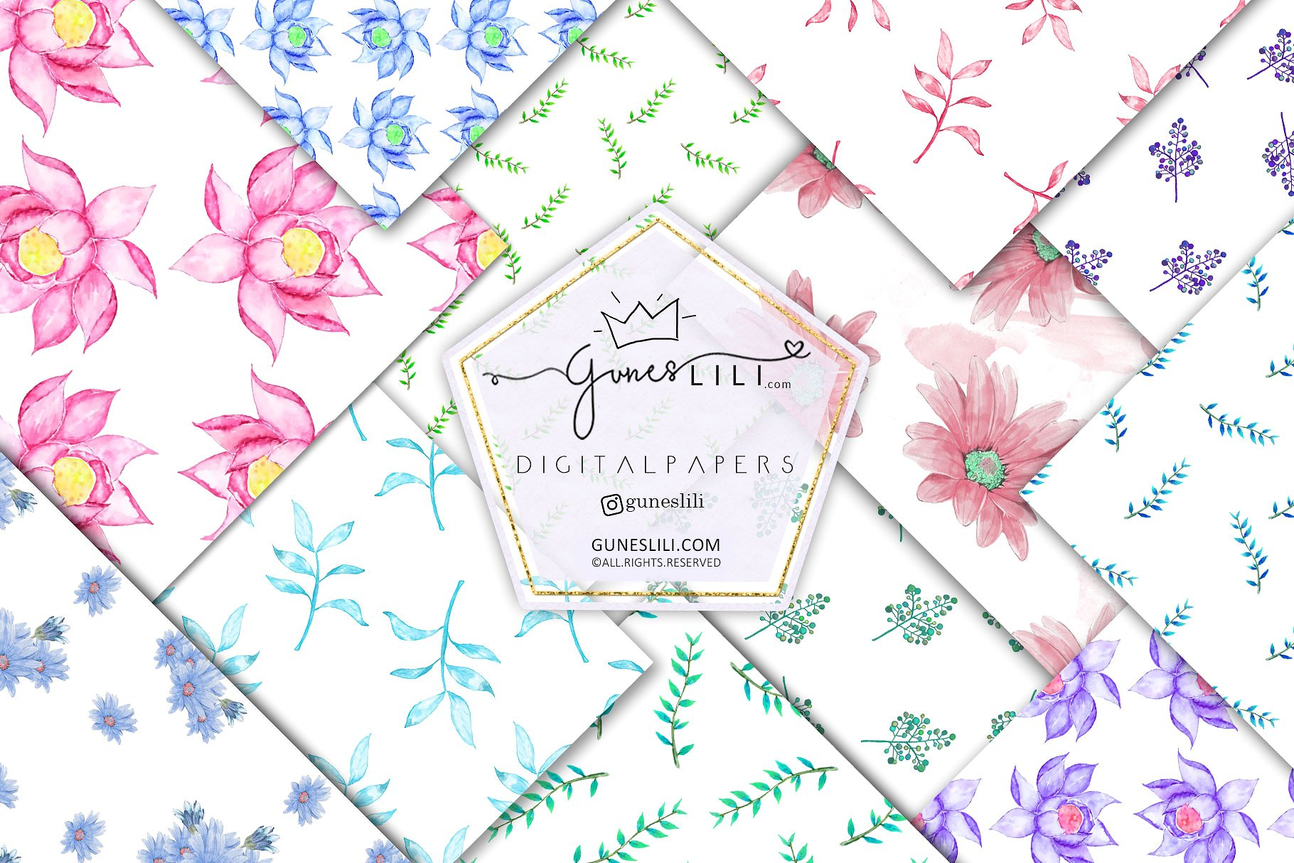 Watercolor Floral Digital Paper Pack Floral Seamless Pattern example image 1