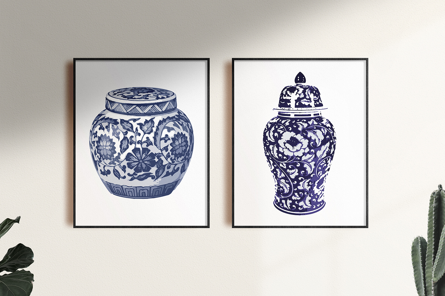 Indigo Blue and White Printable Kitchen Ginger Jar Wall Art example image 5