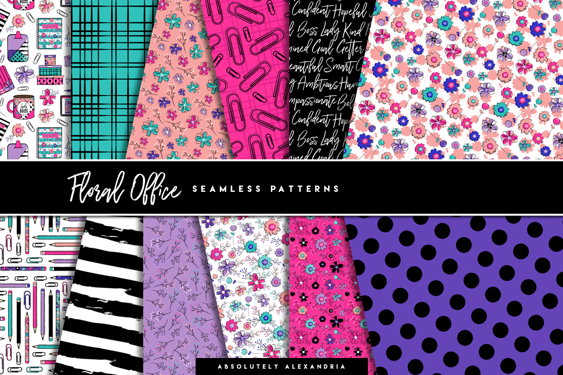 Floral Office Illustrations & Seamless Digital Patterns example image 2