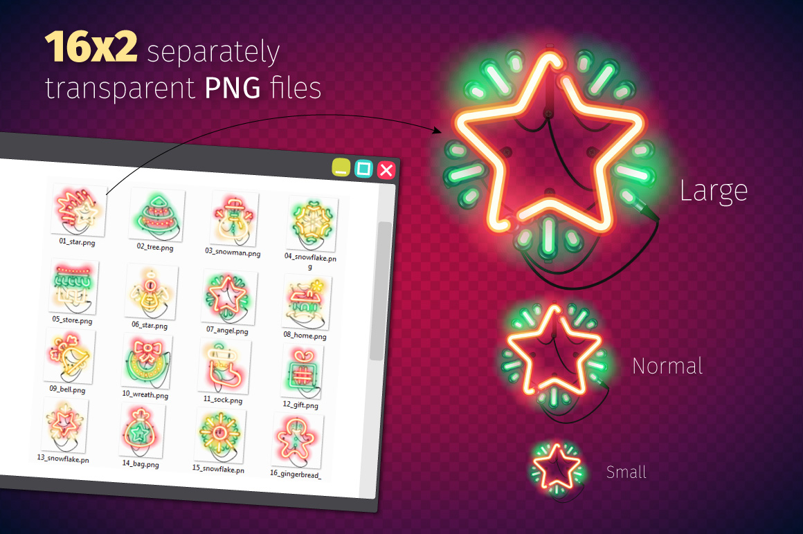 Christmas Colorful Neon Icons example image 4