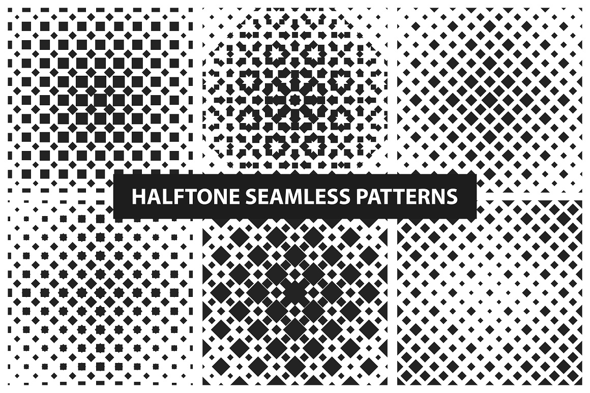 Halftone seamless patterns example image 3