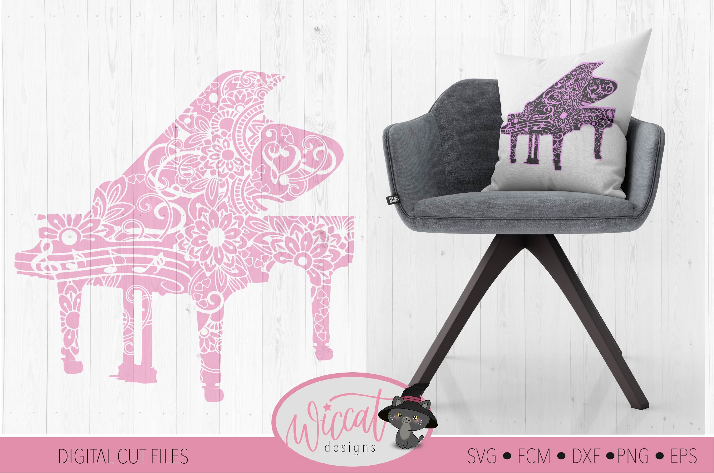 Doodle piano, music instrument, intricate cut file example image 1