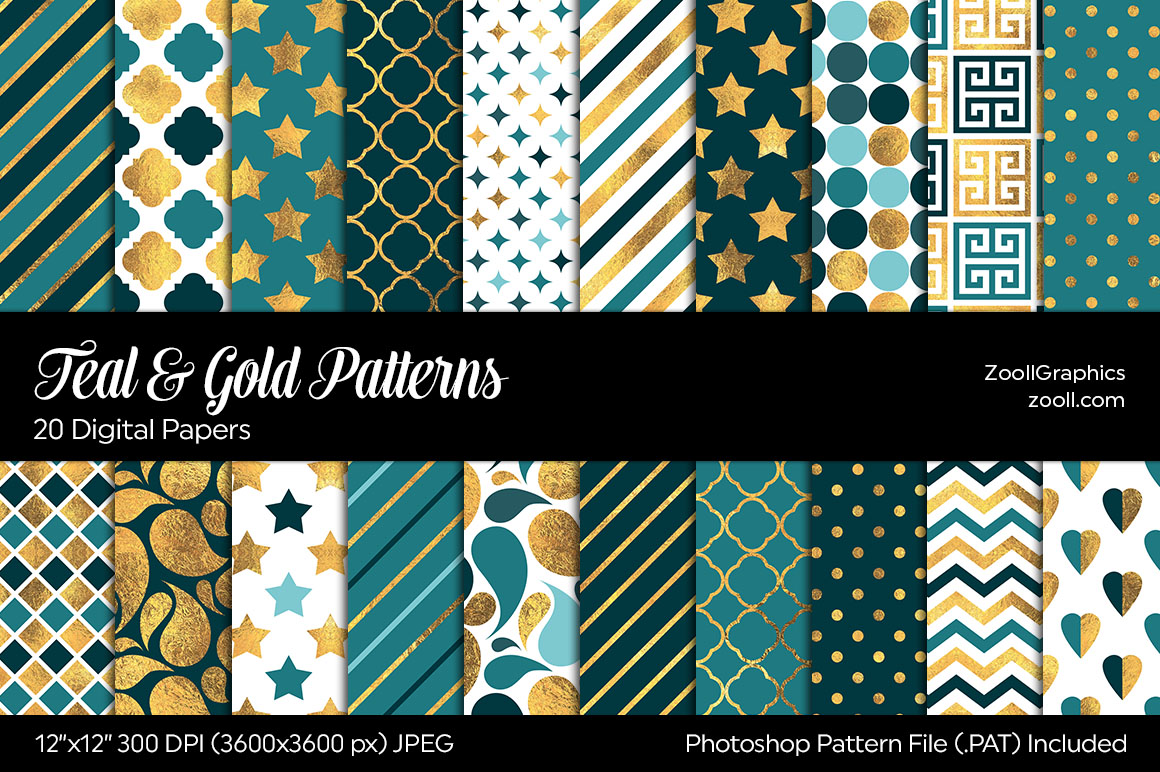 Teal And Gold Digital Papers example image 1