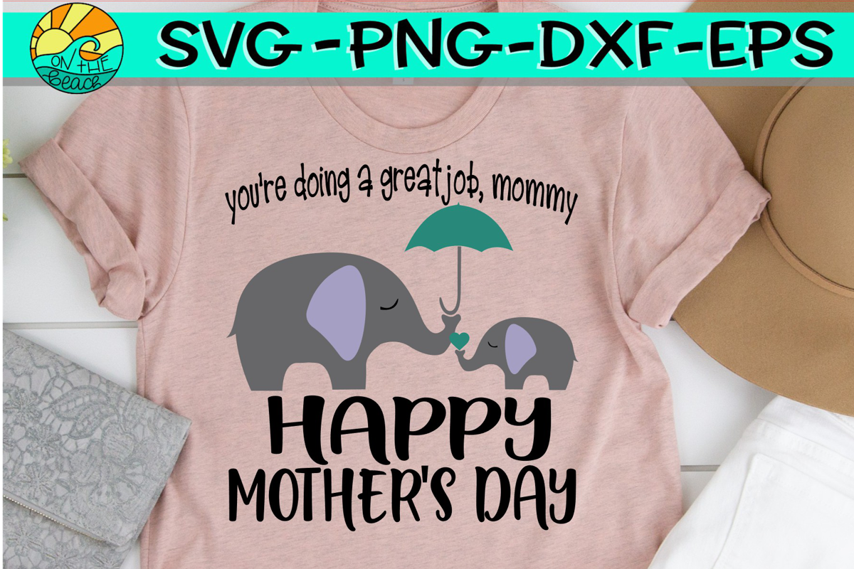 Mommy Me Elephant - Happy Mother's Day - SVG PNG DXF EPS example image 1