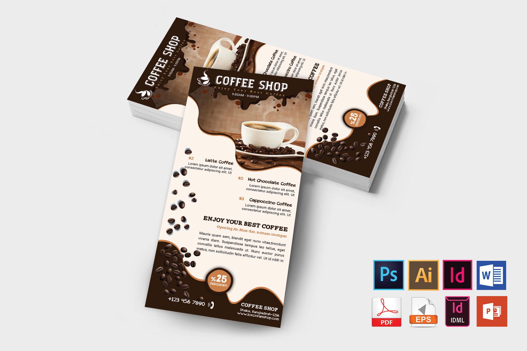 Rack Card   Coffee Shop DL Flyer Vol-02 example image 2