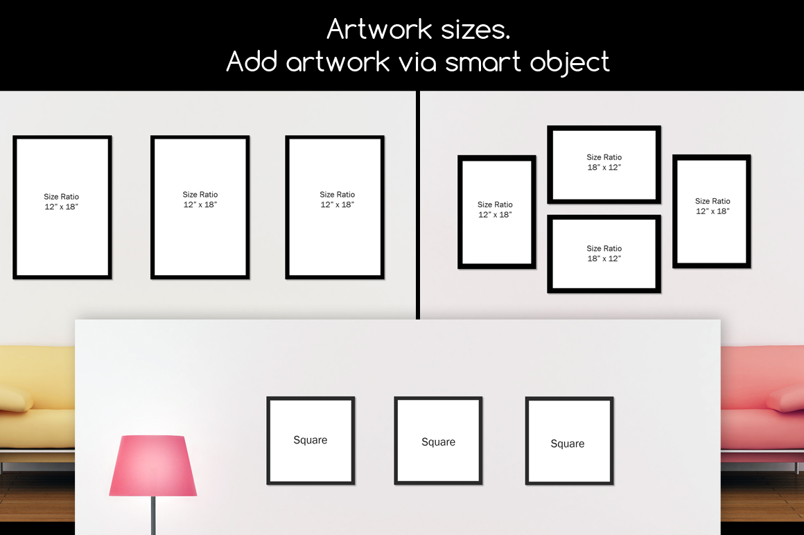Wall art / decals / poster Mockup v2 example image 3