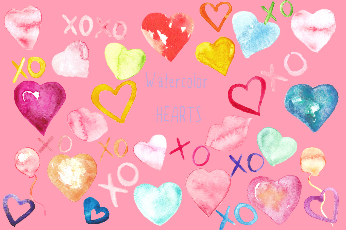 Valentine Hearts watercolor clipart example image 3