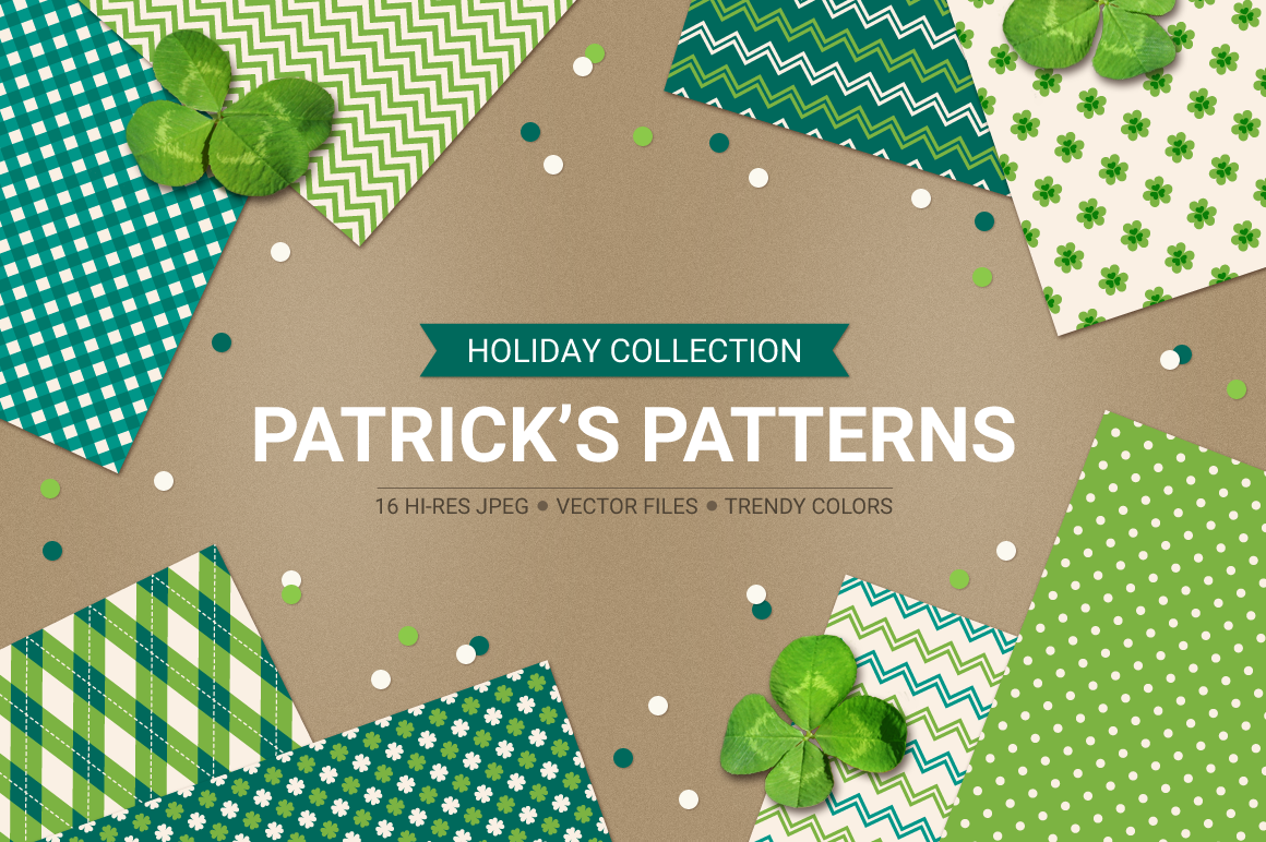 St. Patrick's Day Seamless Patterns - Set 1 example image 1