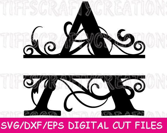 Cut files, Silhouette, Svg Files, Cricut Cut Files, Svg File for Cricut, Svg Letters, Split Letter, Letter Svg, Split Monogram example image 1