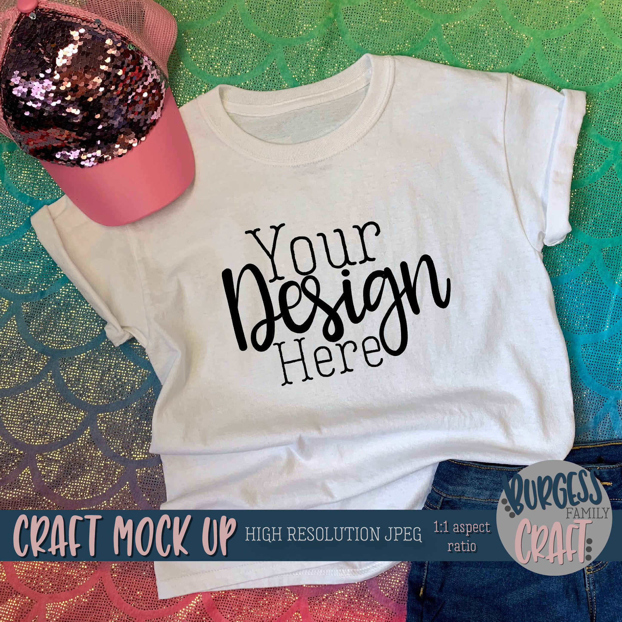 Mermaid shirt Craft mock up | High Resolution JPEG example image 2