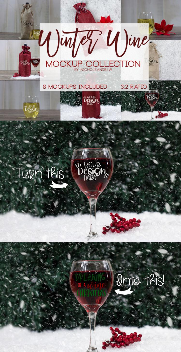 Winter Wine Mock Up Bundle example image 11