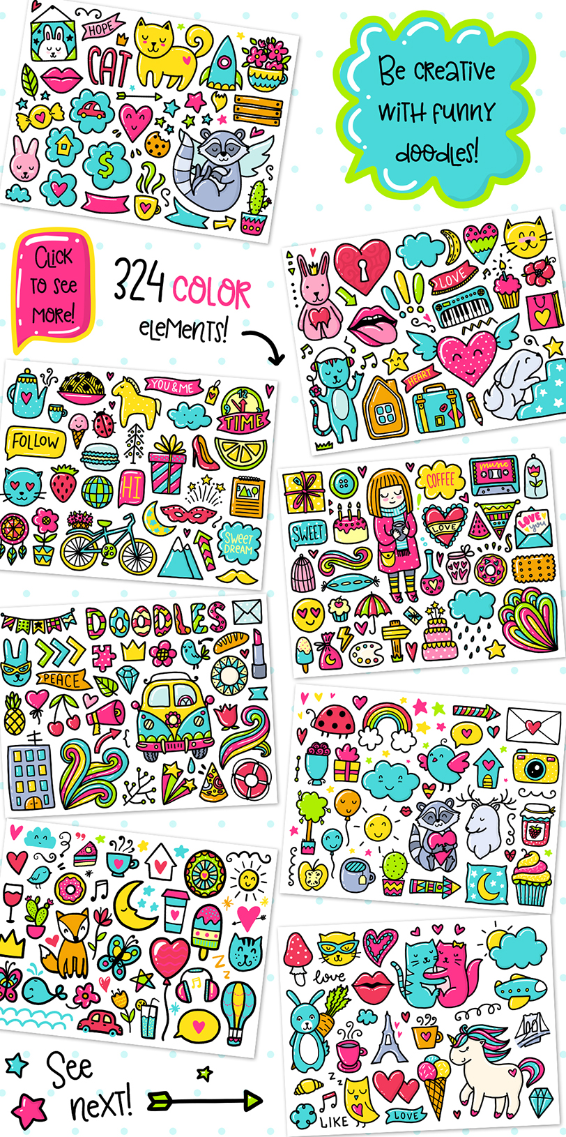 700 Doodles & Patterns - Clipart Set example image 2