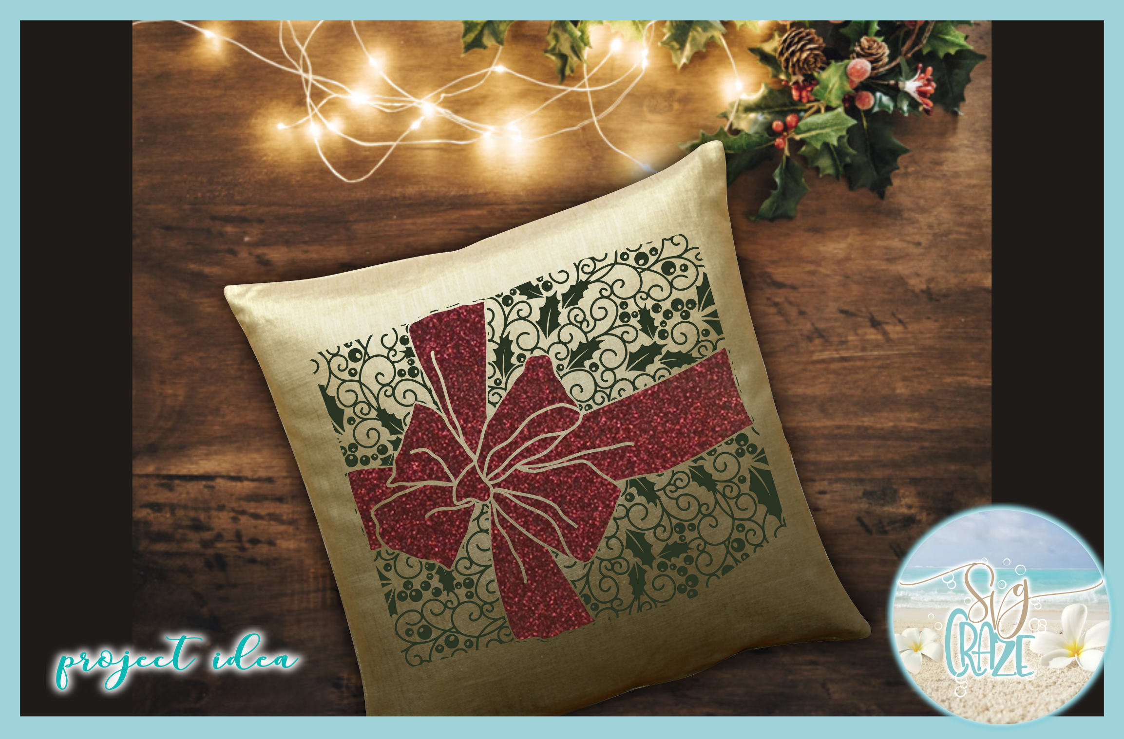Gift with Bow Mandala Holly Berries Zentangle SVG example image 3