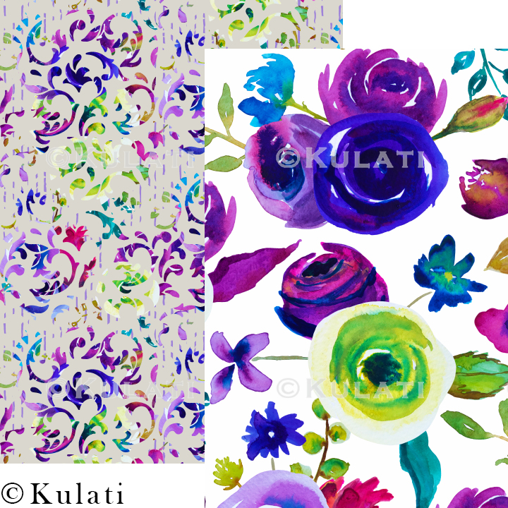 Watercolor Floral Seamless Patterns example image 2