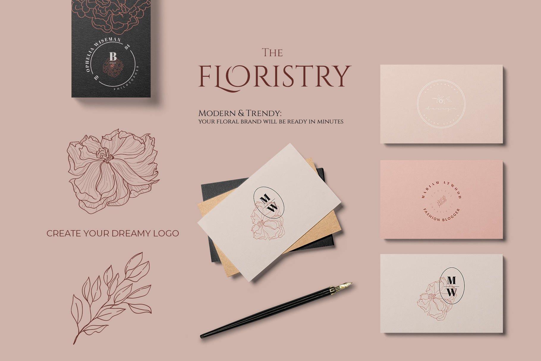 THE FLORISTRY floral collection - watercolor, line art, real example image 11