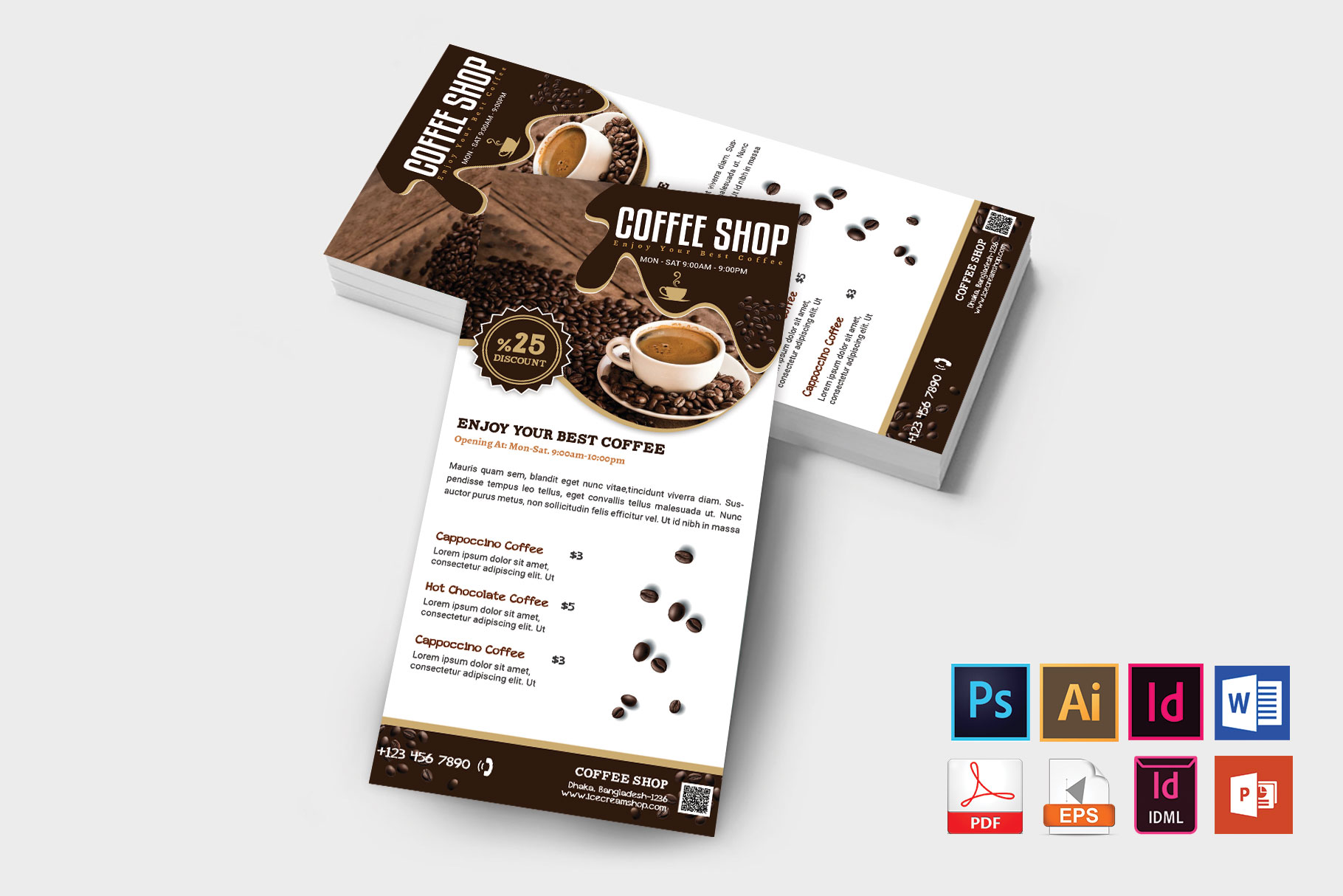 Rack Card | Coffee Shop DL Flyer Vol-03 example image 2
