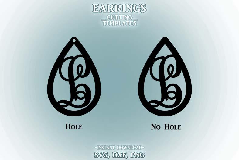 Letter L, Teardrop Monogram Earrings, SVG, Cut File, Cricut example image 2