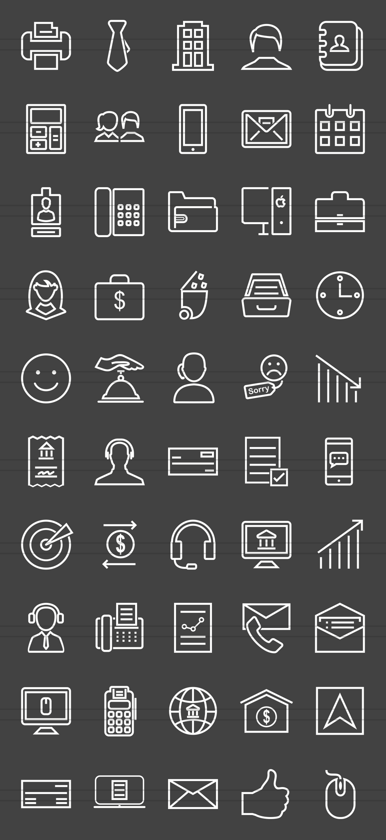 50 Business Line Inverted Icons example image 2