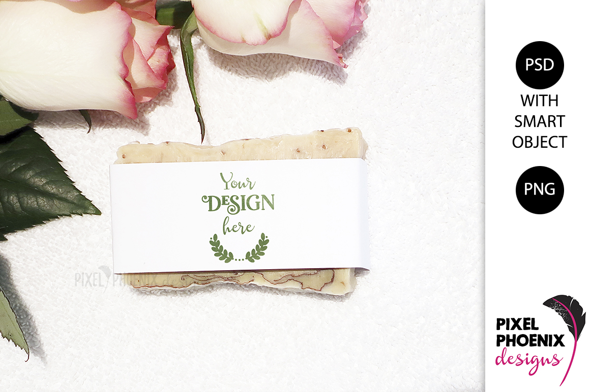 Soap Label Mockup with roses and leaves example image 1