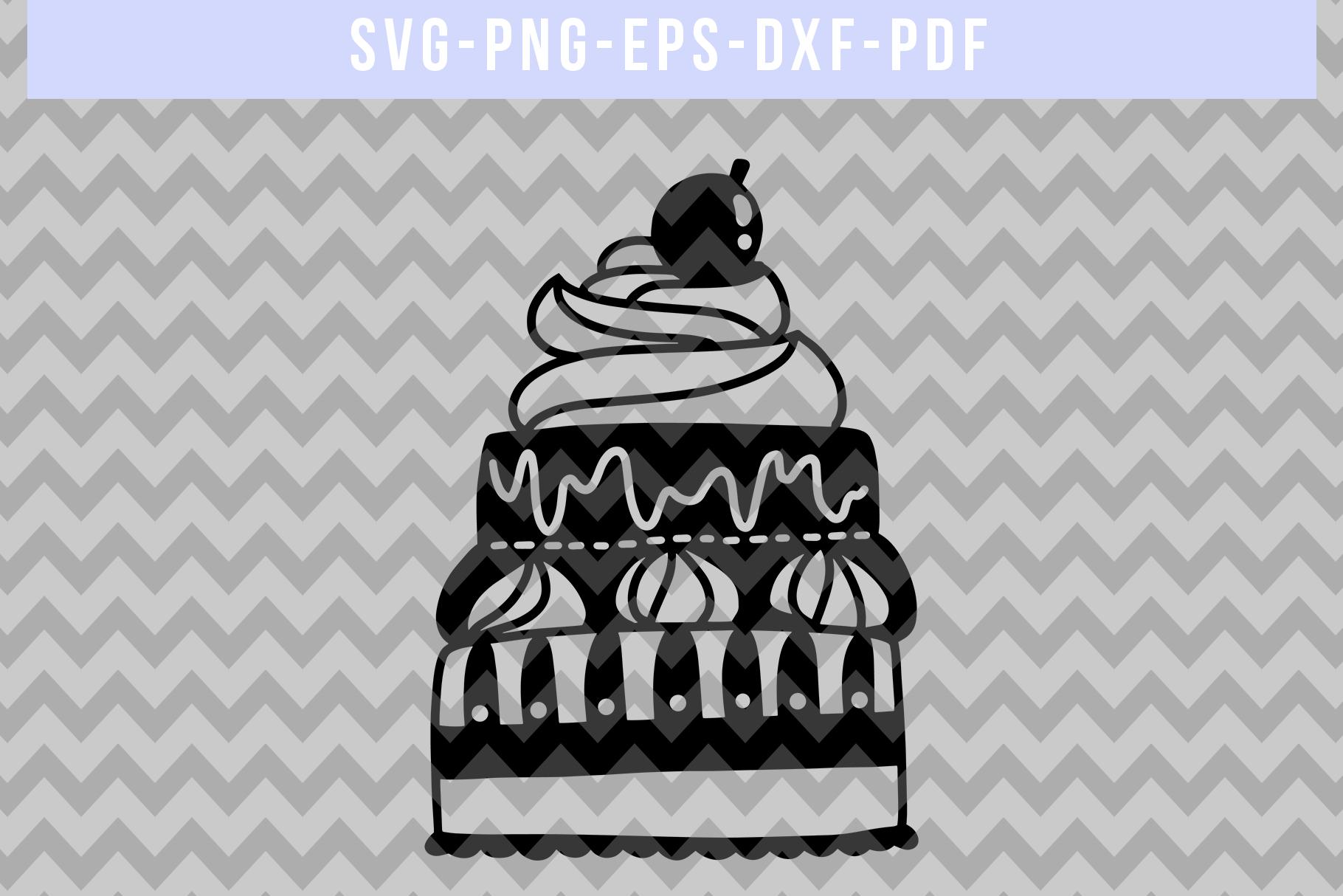 Birthday Party Invitation Papercut Template, Cake SVG, PDF example image 4