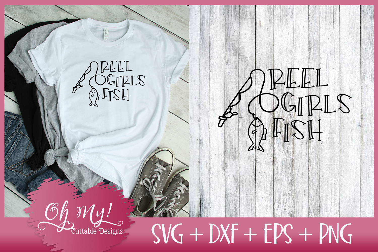 Reel Girls Fish - SVG DXF EPS PNG Cutting File example image 1