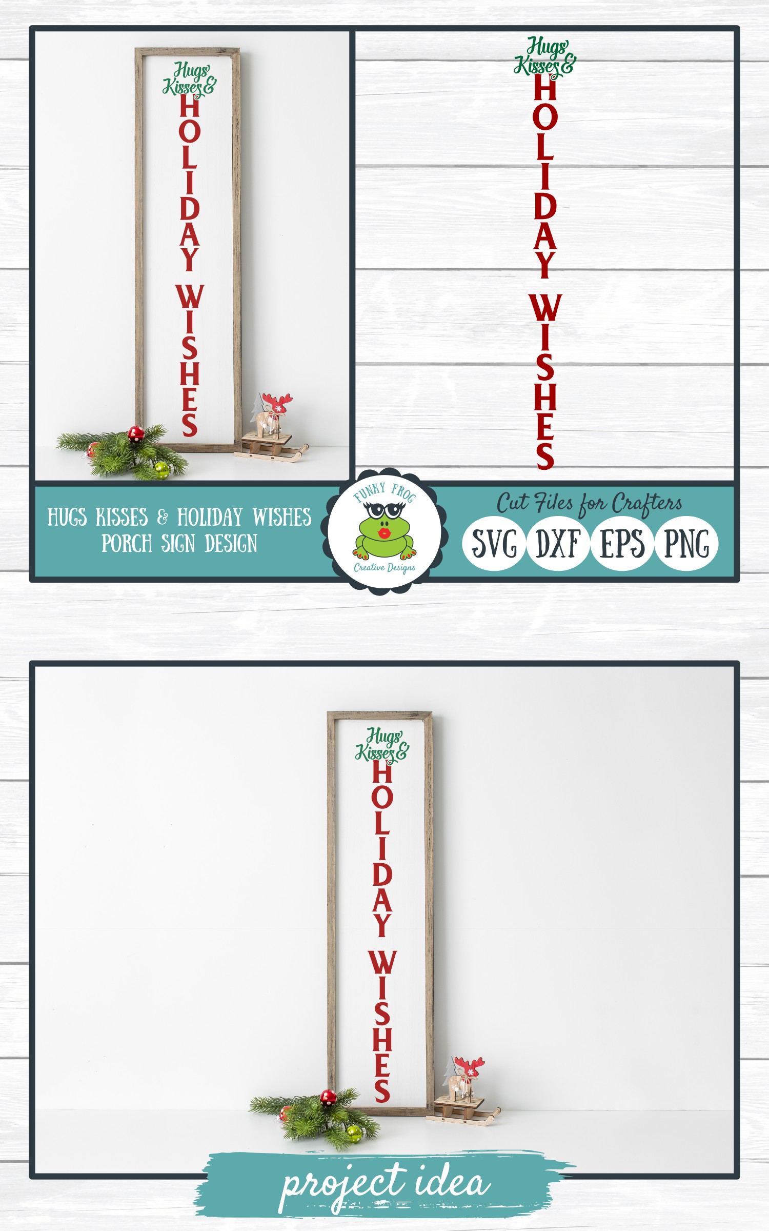 Hugs Kisses & Holiday Wishes Porch Sign Design example image 4
