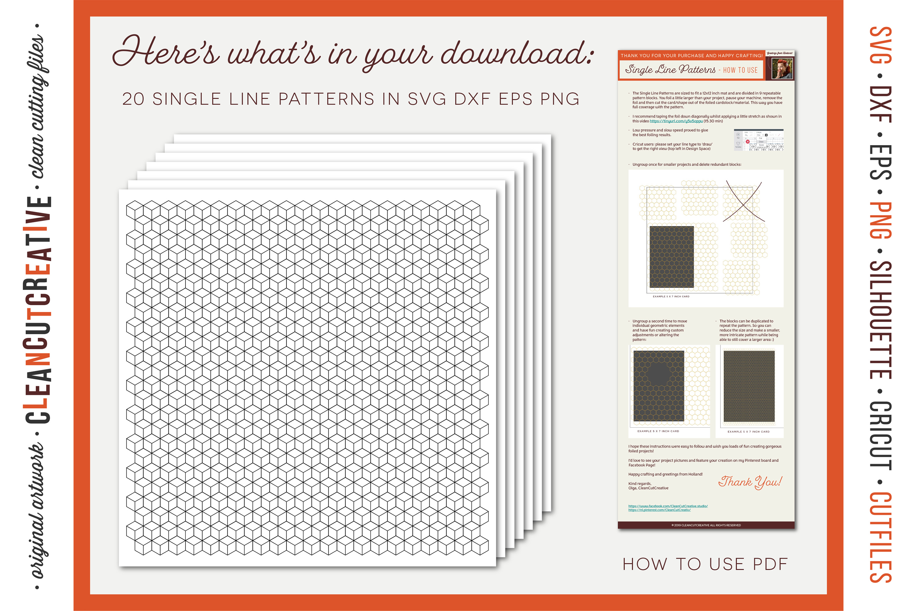 Foil Quill designs SVG   20 Geometric Single Line Patterns example image 5