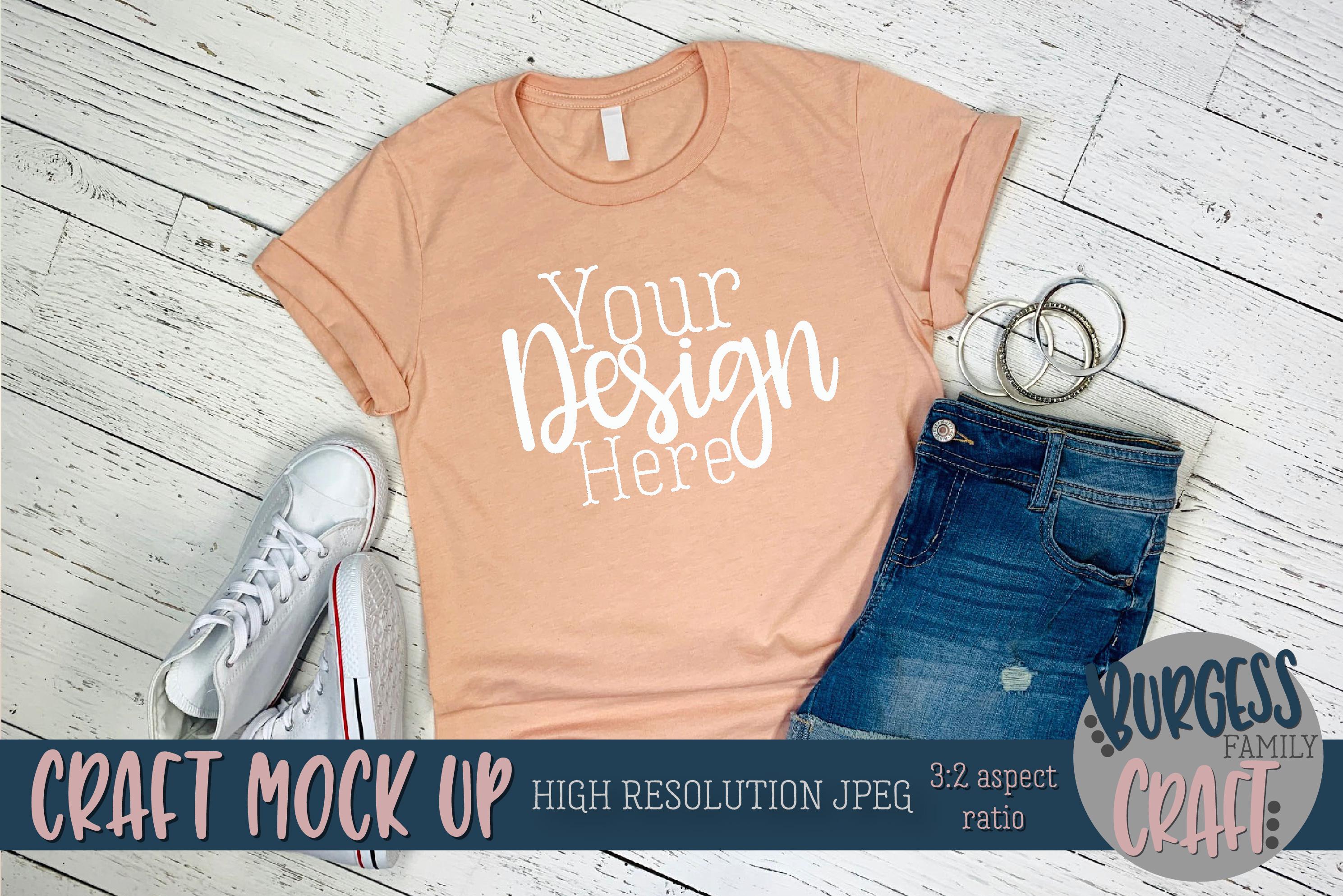 Summer peach shirt Pt 2 3001 Craft mock up | High Res JPEG example image 3