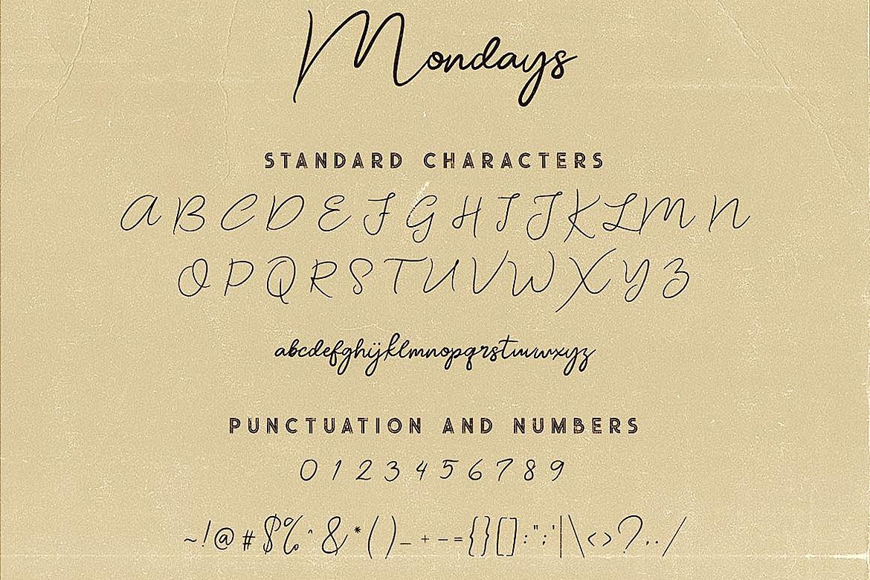 Mondays Script Font example image 6