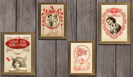 Digital Valentine vintage art print decoration example image 1