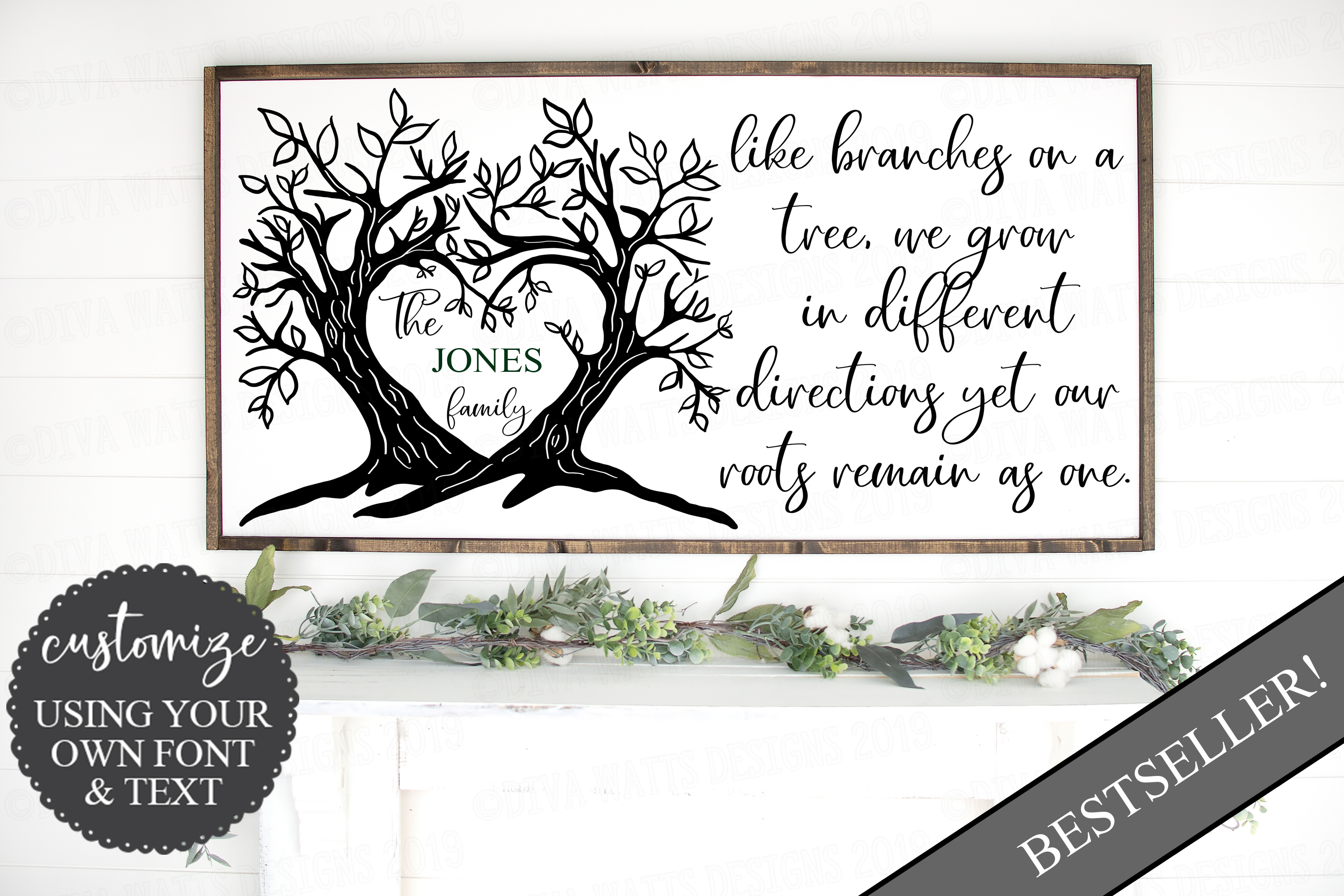 Branches on a Tree Family Last Name Sign Cutting File example image 2