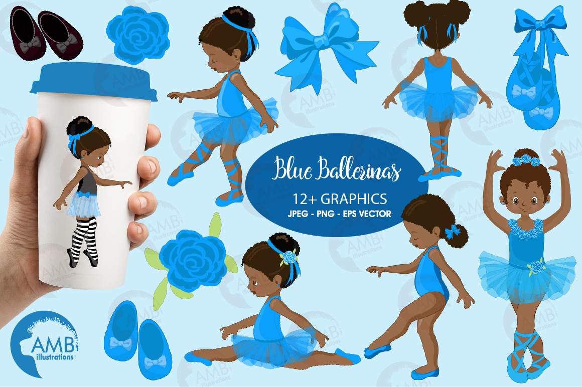 Ballerinas in blue clipart, graphics illustration AMB-1946 example image 1