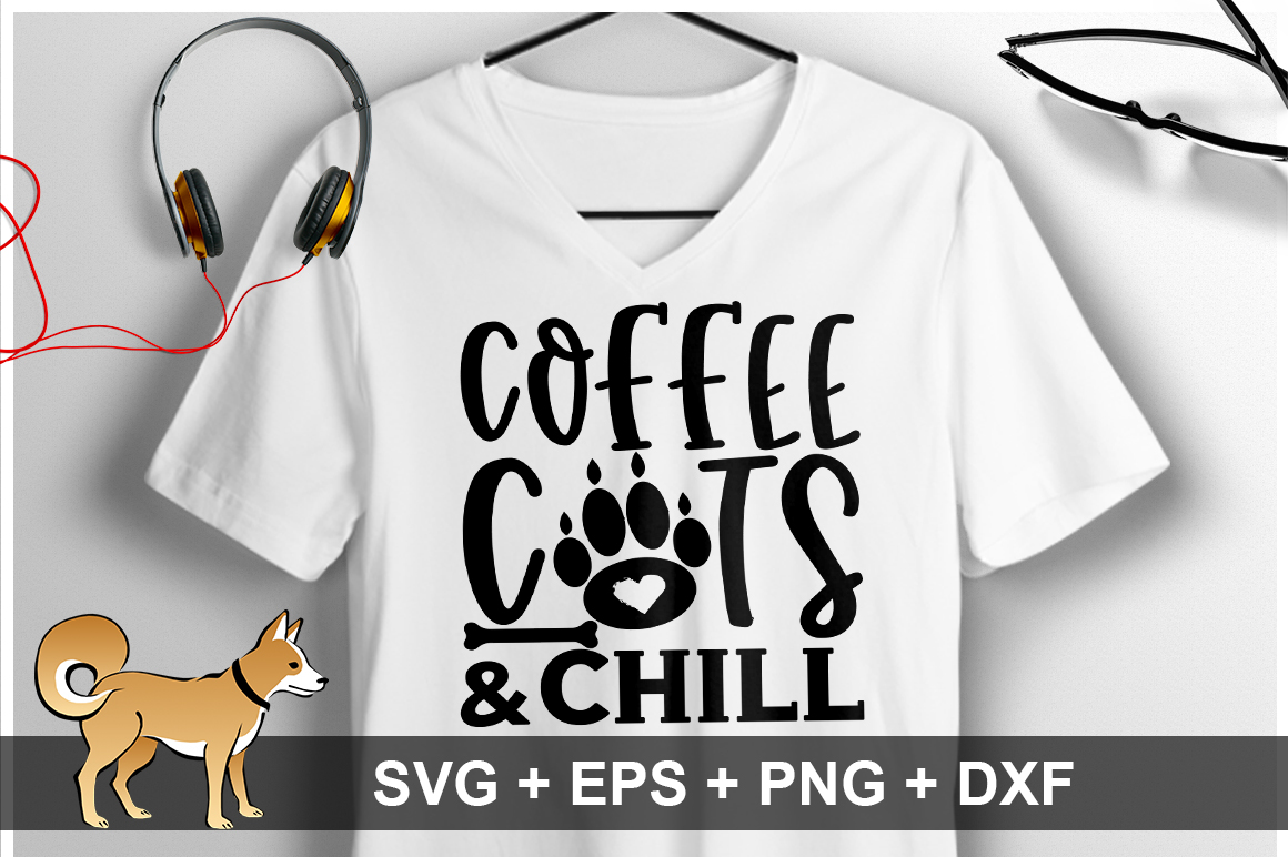 Coffee Cats And Chill SVG Design example image 1