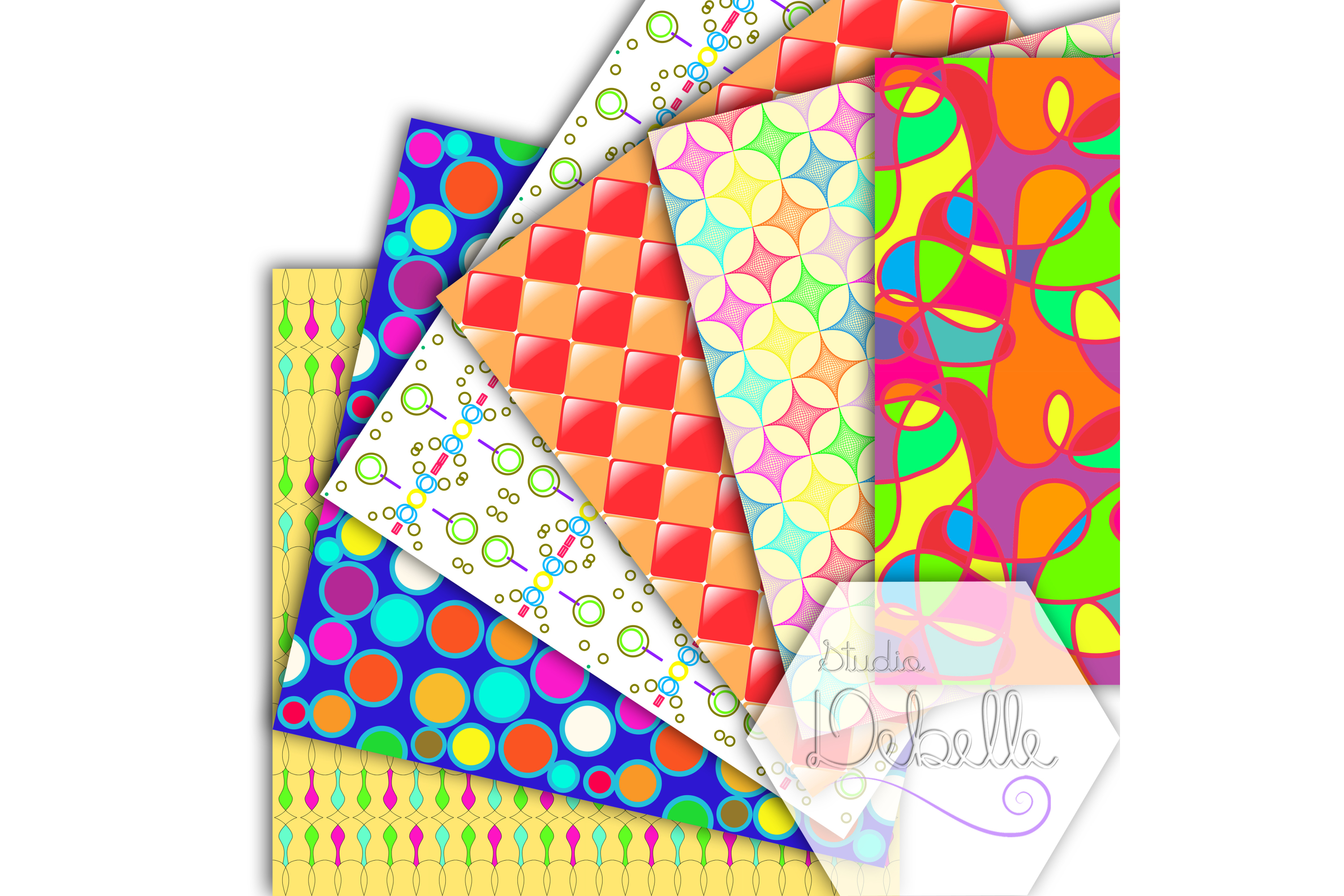 Fun and Colorful digital papers seamless pattern example image 4