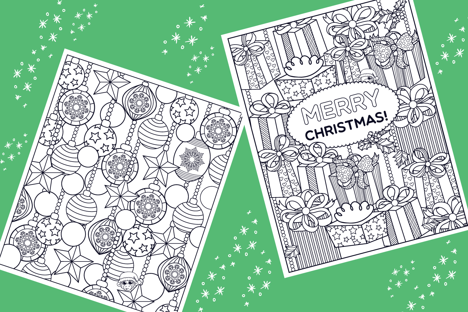 Christmas Coloring Pages- 9 vector items example image 2