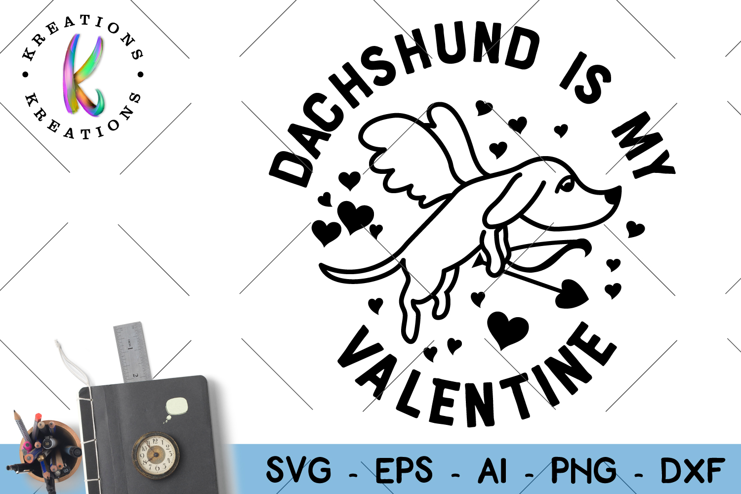 Dachshund is my Valentine svg Dog clipart svg cut file Valentine's Day example image 1