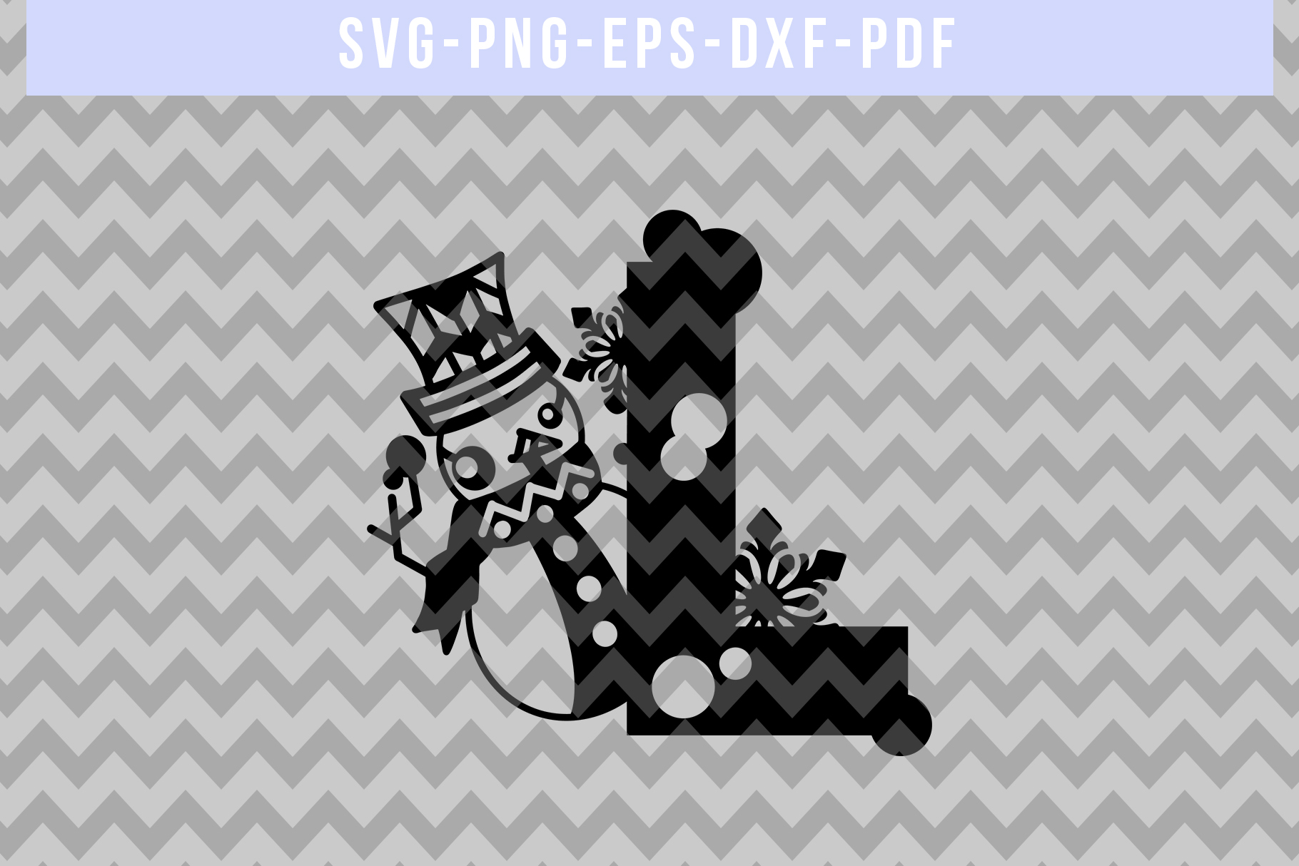 Snowman Font L Paper Cut Template, Winter Cutting SVG, DXF example image 3