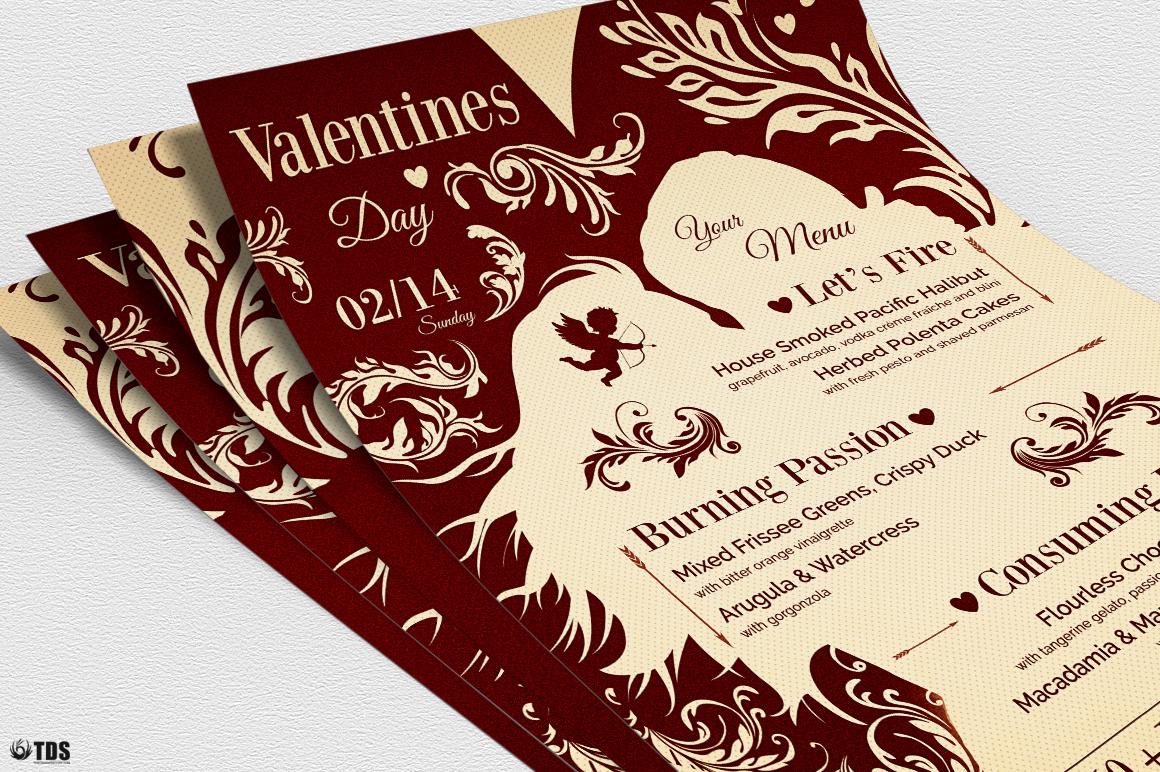 Valentines Day Flyer + Menu Bundle V6 example image 5