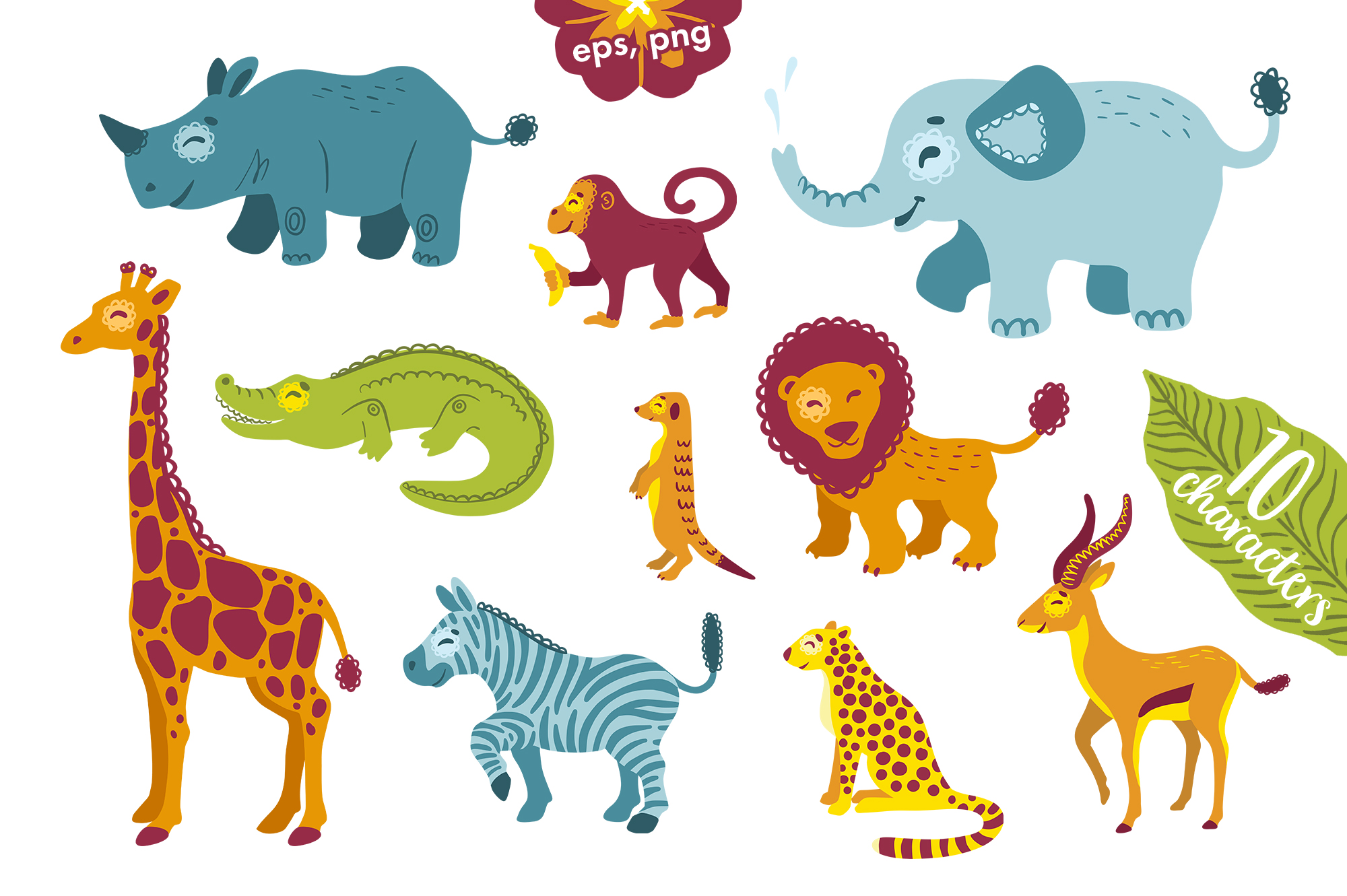 African animals clipart and alphabet vector example image 2