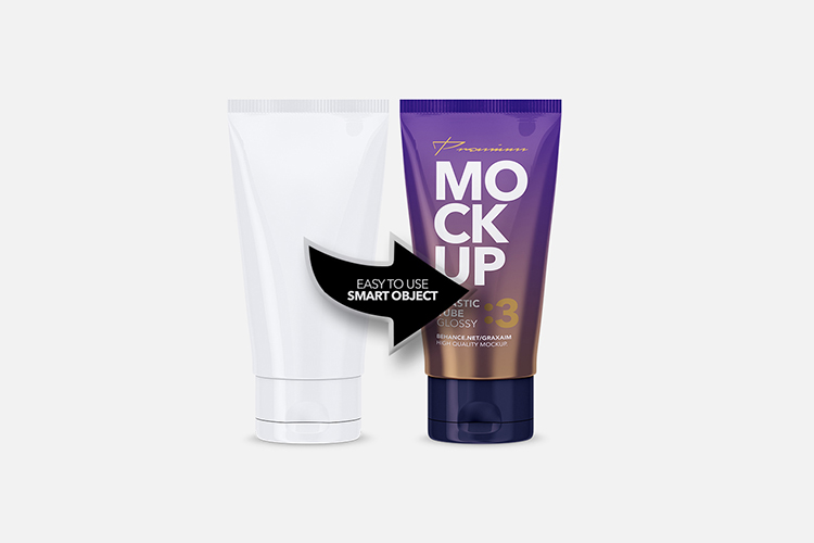 Glossy Plastic Cosmetic Tube Mockup - Front View - 03 example image 4
