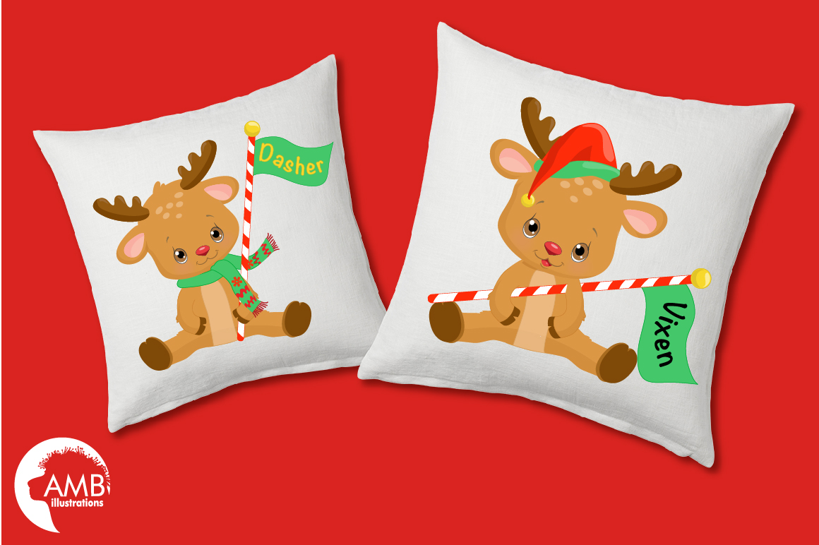 All of Santa's Reindeer clipart, graphics, illustrations AMB-2291 example image 4